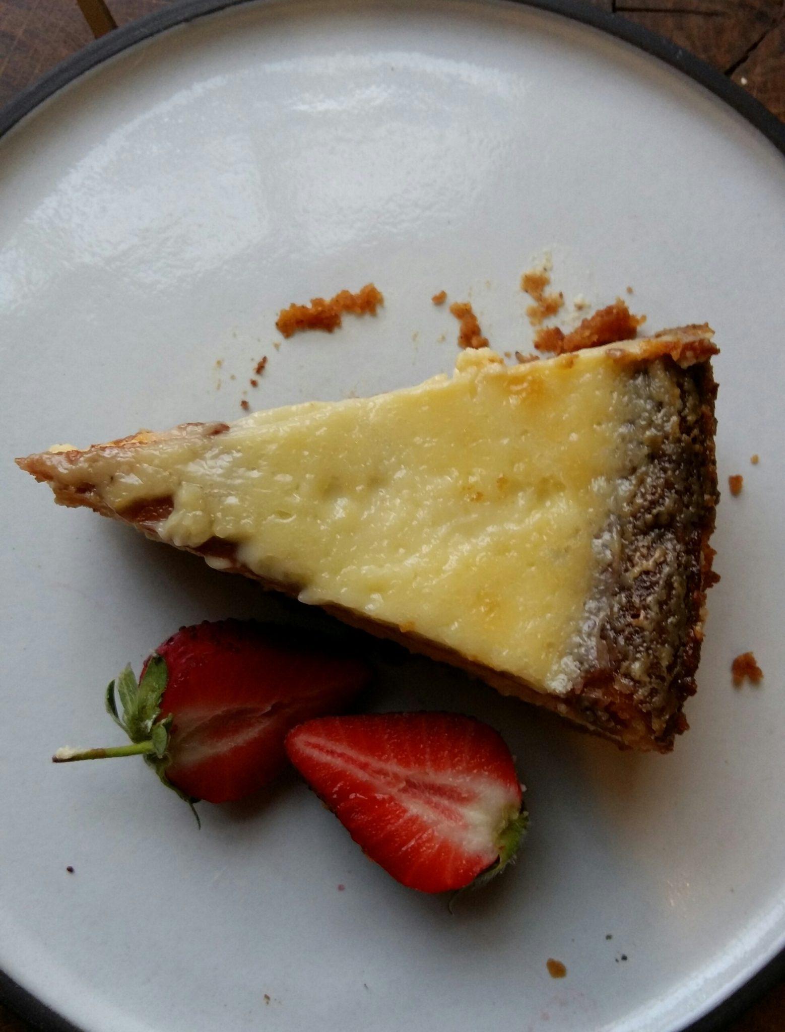 New York sour cream cheesecake with orange and lemon zest