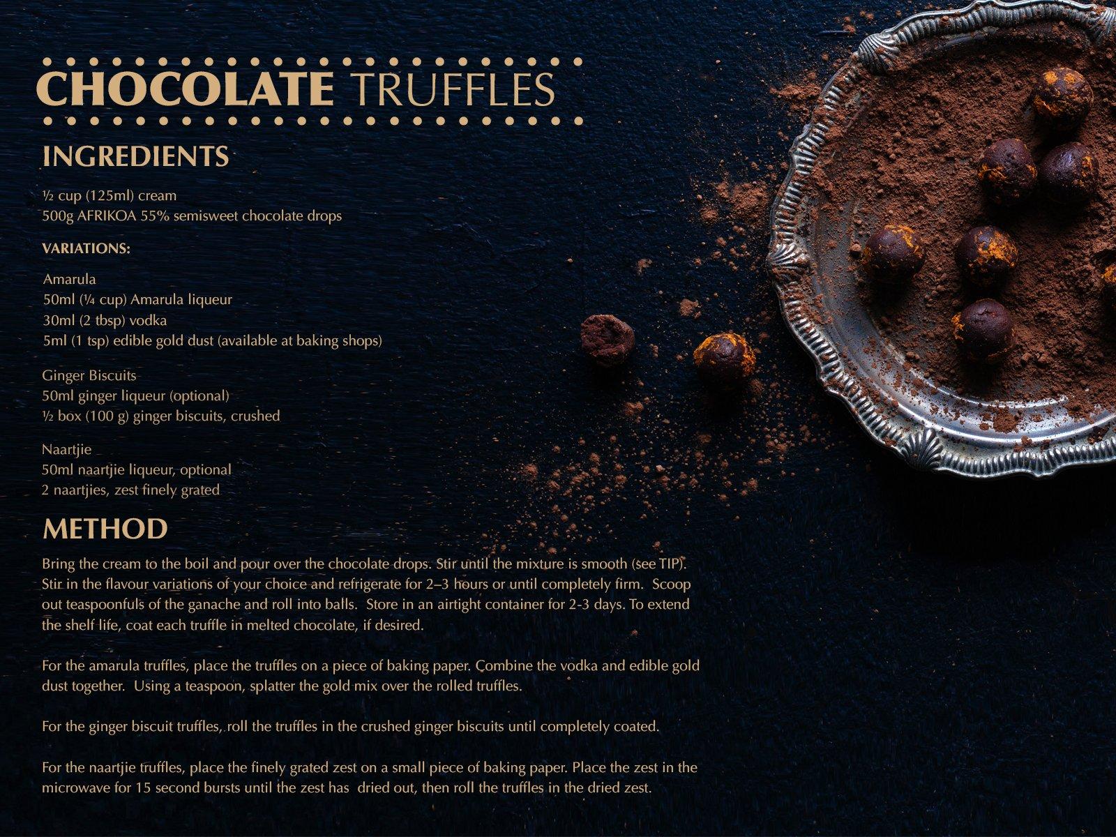 Afrikoa Chocolate truffle recipe sonia cabano blog eatdrinkcapetown food wine travel