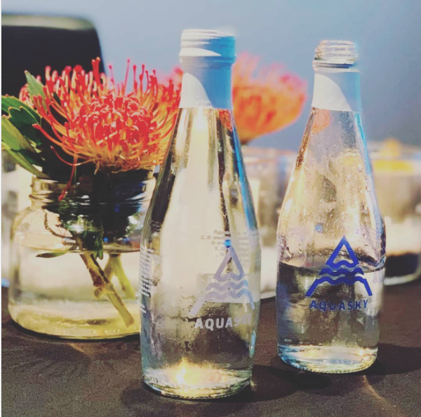 Recyclable AQUASKY glass bottles Sonia Cabano blog eatdrinkcapetown