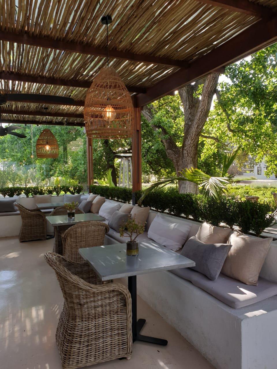 Shady verandah La Paris Bistro, Sonia Cabano blog eatdrinkcapetown