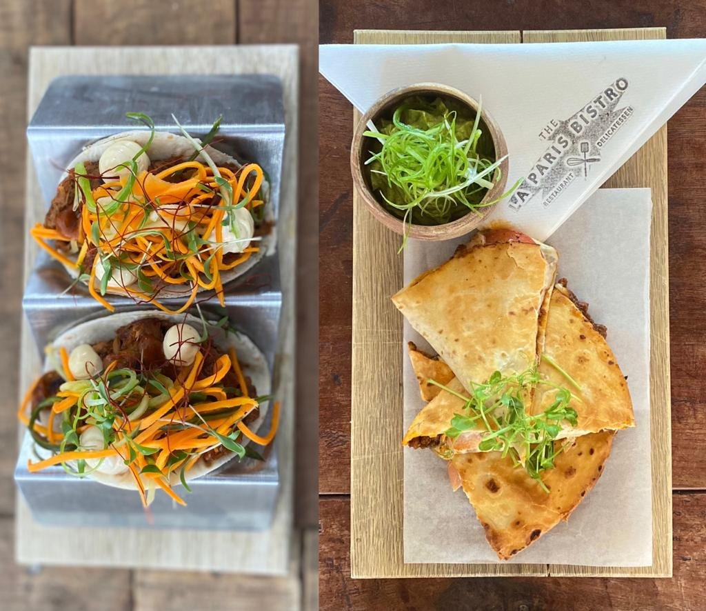 Linefish Ceviche Tacos (left) and Mexican Chilli Spiced Beef Quesadilla (right) on La Paris Bistro's Street Food Style menu
