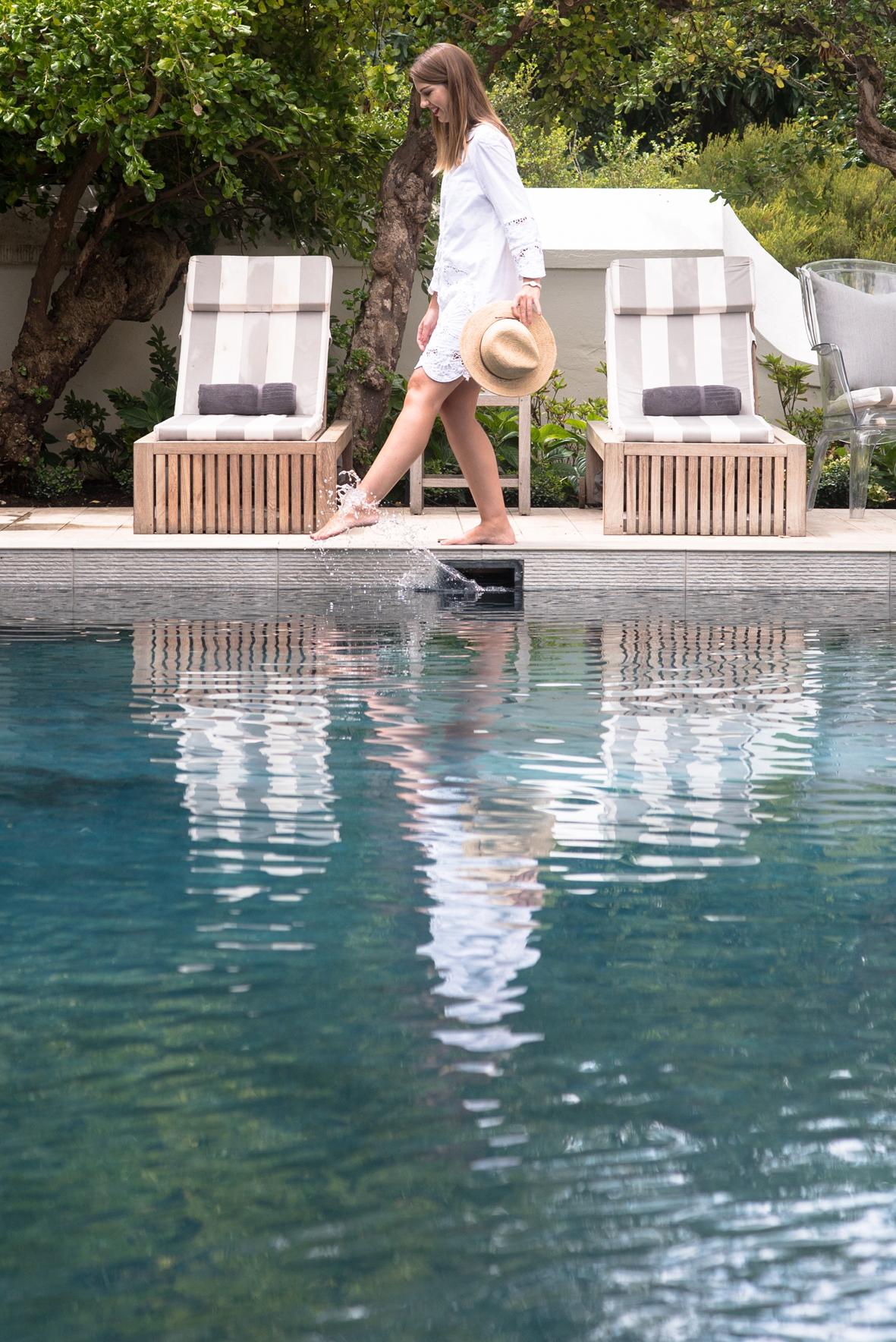 Tip-toe along the pool at Steenberg, Eat, Play, Love Valentine's Spa Break Sonia Cabano blog eatdrinkcapetown